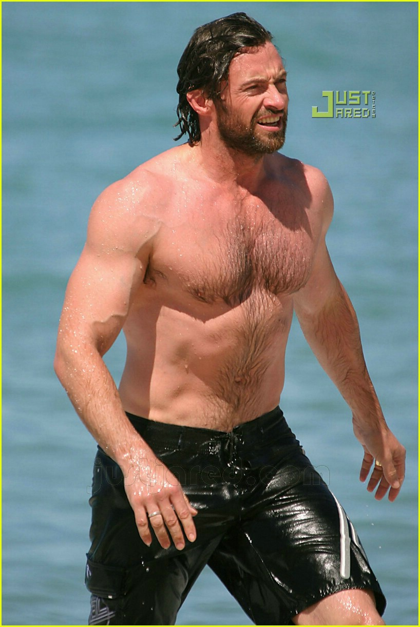 Hugh Jackman hot model photos, shirtless @ beach
